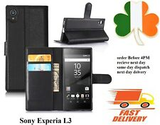 Sony experia L3 new Leather TPU book case cover black