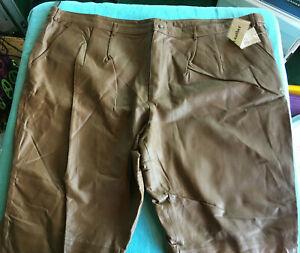 NWT - Men's KS Brown Leather Pants Size 54 X 32  - T4