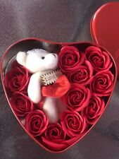 Mothers Day /Valentine Gift Box With Perfumed Soap 12 Red Roses And Teddy Bear