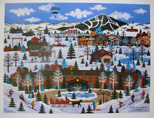 Jane Wooster Scott SUN VALLEY WINTER WONDERLAND Hand Signed Ltd Ed Lithograph