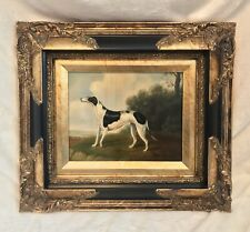 Oil Painting On Canvas, Signed, WHIPPET DOG WHITE ANIMAL, Gold Frame, 18 X 16