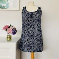 Fat Face Dress Tunic Style Cotton Navy Print Size 6
