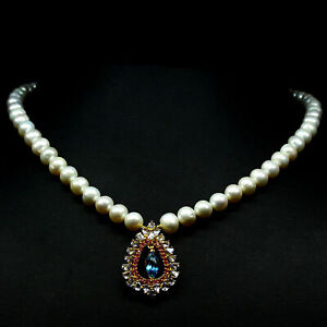 """NATURAL WHITE PEARL, TOPAZ, TANZANITE & RUBY NECKLACE 19"""" 925 STERLING SILVER"""