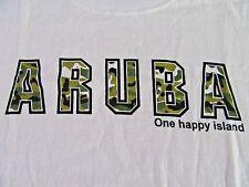 "ARUBA ""One Happy Island"" Vacation Tourist Camo Letters SS White T Shirt Size M"