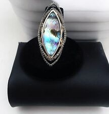 JUDITH JACK RING STERLING SILVER 925 TEAR DROP MARCASITE BLUE ABALONE
