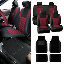 Seat Covers for Car Suv Van Burgundy W/ Black Leather Trim Floor Mats