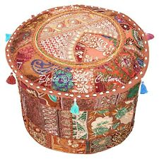 """Indian Round Pouf Cover Patchwork Embroidered Antique Ottoman Bohemian 16"""" Brown"""