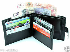 RFID BLOCKING MENS REAL LEATHER WALLET COIN PURSE BEST GIFT FOR HIM 340 - BLACK