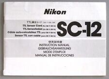 Nikon TTL Sensor Cord SC-12 Instruction Manual multi-language