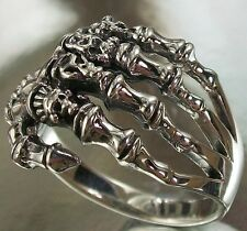 925 STERLING SILVER Skeleton Hand with Knuckle Skulls Design US Size 11 3/4 RING