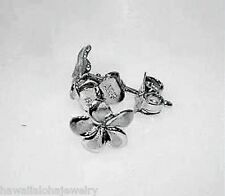 7mm Hawaiian Solid 14k White Gold Brushed Satin Petite Plumeria Stud Earrings
