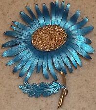 Vintage Pastelli Enamel Teal Big Flower Brooch Fashion Costume Jewelry Lovely