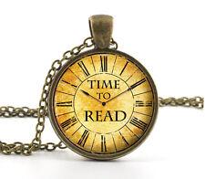 Vintage Colgante Collar-Libro Amante Gusano citar Joyas Regalo-Reloj Reloj Arte