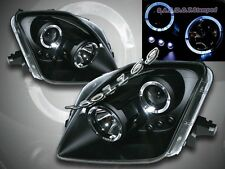 97-01 Honda Prelude Projector Headlights Black Twin Halo LED 98 99 00