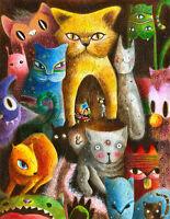 Cat Overload Home Decor Canvas Print A4 Size (210 x 297mm)