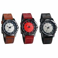 Fashion Men's PU Leather Band Wheel Pattern Analog Business Quartz Wrist Watch