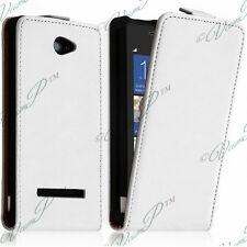 Cover Shell Case Pouch PU True Flap white leather for HTC Windows Phone 8X
