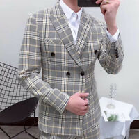Smoking Plaid Men's Suit Double Breasted 2 Pieces Formal For Wedding Tuxedos New