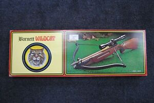 Vintage Barnett Wildcat Crossbow, Wood Stock W/ Box And Arrows COLLECTABLE RARE