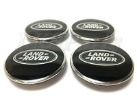 Land Rover Black with Green Oval Polished Wheel Center Hub Caps Set x4 Genuine