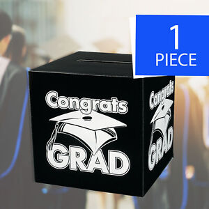Congrats Grad Black Card Box - Graduation Party Supplies - 1 Piece