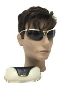 VTG RARE 60's Renauld of France Sunglasses with Original Case White Gold Wrap