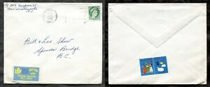 p943 - NEW WESTMINSTER BC 1959 Wilding 2c on Cover. Christmas & Swedish Seals ✉