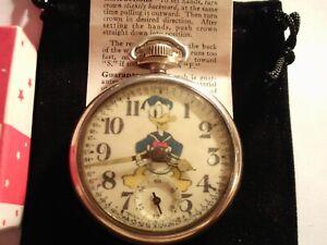 1930s Westclox Pocket Watch WD Donald Duck Theme Dial & Case Runs Well.