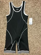 Asics thin stretchy clingy fit wrestling gym fitness shrt singlet black adult M