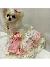 SHABBY PINK LACE SIZE SMALL DOG HARNESS DRESS PET WEDDING PARTY Bridesmaid