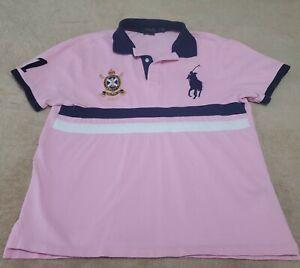 Vtg Polo Ralph Lauren Custom Slim #1 Big Pony Shirt Mens LARGE Pink