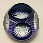Vintage Baccarat Crystal Cut to Clear Cobalt Blue Paperweight Multi-faceted Star