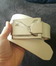 PUMA white 100% Genuine Leather Mens Belt Buckle