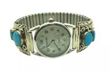 Navajo Handmade Sterling Silver Turquoise Inlay Men's Watch - Y