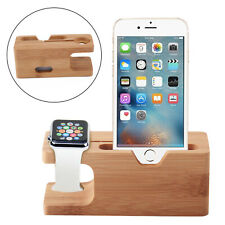 Bamboo Charging Dock Station Charger Holder Stand For iWatch Apple Watch iPhone