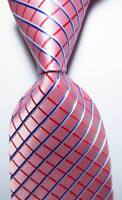New Classic Checks Pink Red Blue White JACQUARD WOVEN Silk Men's Tie Necktie
