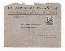 C 1936 - 1939 España censor militar Cubierta Frontal Bilbao a Londres GB Vizcaya
