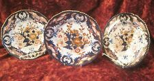 Derby porcelain plates c 1820 hand painted in Kings Imari style .set of 3