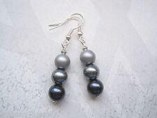 *SHADES OF GREY* GLASS PEARL BEAD SP STACK Drop Earrings Elegant Gray Tones 50