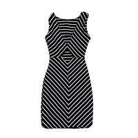 Ladies Quiz Black And White Striped Key Hole Dress Size Uk 8 Women's Minidress.