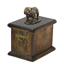 Solid Wood Casket Bulldog Memorial Urn for Dog's ashes,with Dog statue.