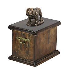madera maciza Ataúd bulldog cremación CONMEMORATIVO Urna para de perro cenizas,