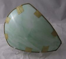 Antique Green Slag Stained Curved Bent Glass Lamp Shade Replacement Panel