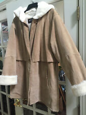Reduced*** WILSON SUEDE LEATHER FAUX FUR Shearling Coat Beige Womens Size Large