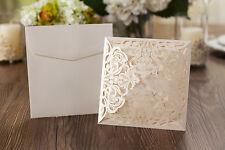 1 Laser Cut Wedding Invite Ivory Shimmer Madeleine Envelope /insert & ENV Seal