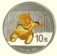 Panda 2014 China 10 Yuan (Var.2) 1 Unze Silber gilded - vergoldet BU 5.000Ex.!