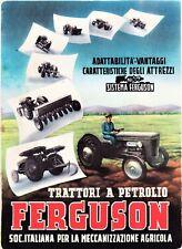 PUBBLICITA' 1951 TRATTORE TRATTRICE A PETROLIO FERGUSON ATTREZZI U