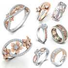 Lot Women 925 Sterling Silver Flower White Sapphire Topaz Wedding Rings Sz 6-10