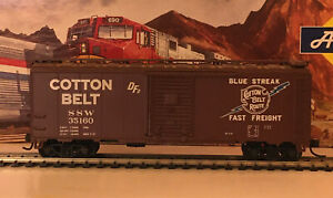 HO Scale Athearn SSW Cotton Belt 40' Single Door Box Car #35160 Blue Streak