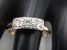 ART DECO Handmade  3-stone Transitional Cut Diamond Ring .55 ct G/VS 14k Estate